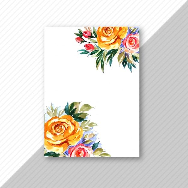 Decoratieve bloem bruiloft uitnodigingskaart brochure Gratis Vector