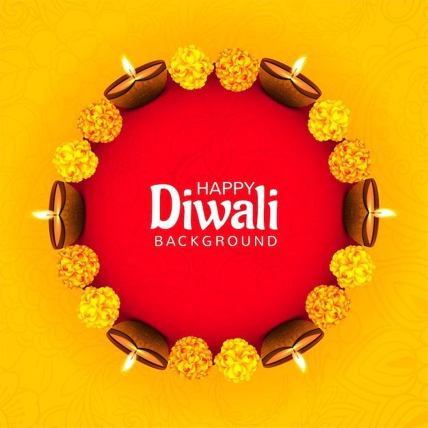 Decoratieve bloem op diwali diya voor festival kaart achtergrond Gratis Vector