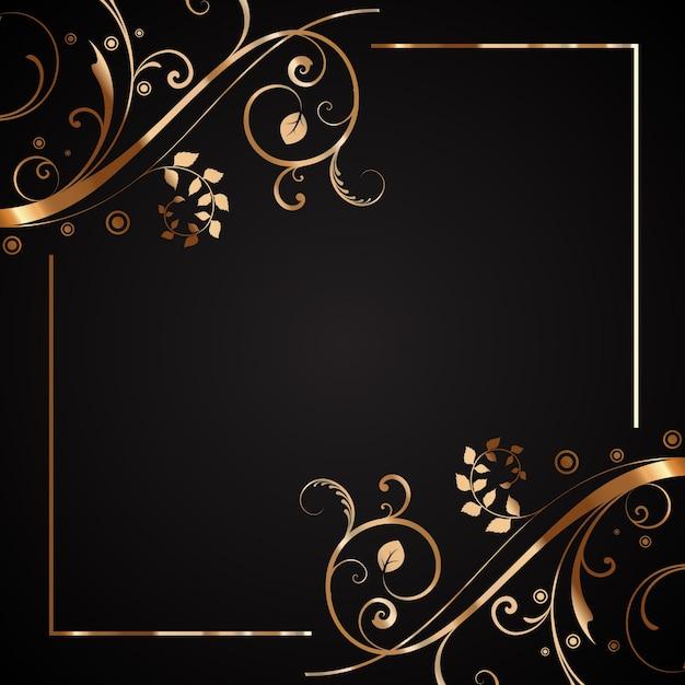 Decoratieve bloemen frame in goud en zwart vector gratis