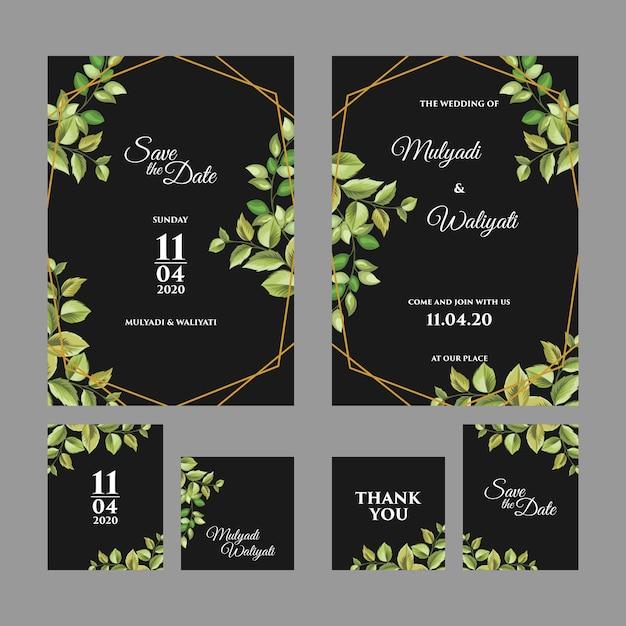 Decoratieve bloemen versiering bruiloft uitnodiging sjabloon Premium Vector