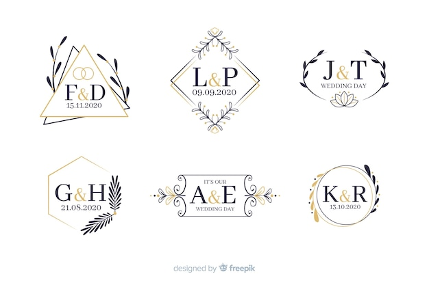 Decoratieve bruiloft monogram collectie Gratis Vector