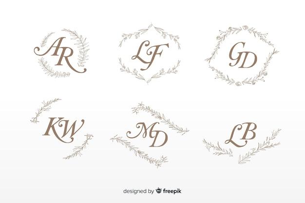 Decoratieve bruiloft monogram collectie Gratis Vector