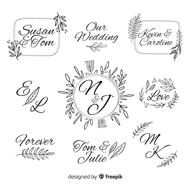Decoratieve bruiloft monogram logo sjabloon Gratis Vector