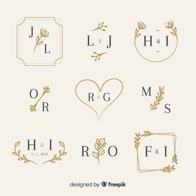 Decoratieve bruiloft monogram set Gratis Vector