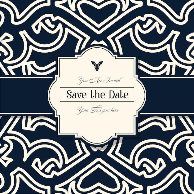 Decoratieve bruiloft uitnodigingskaarten Premium Vector