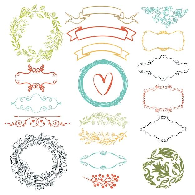 Decoratieve designelementen Gratis Vector