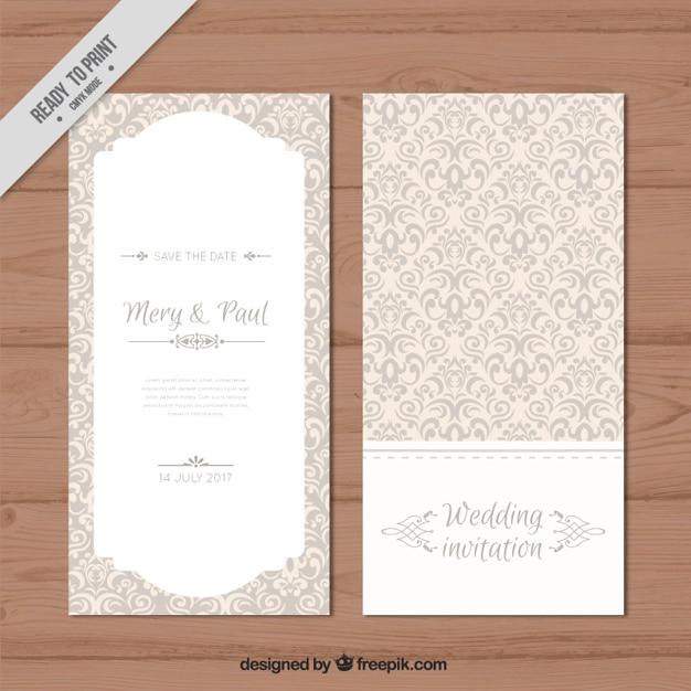 Decoratieve elegante huwelijksuitnodiging Premium Vector
