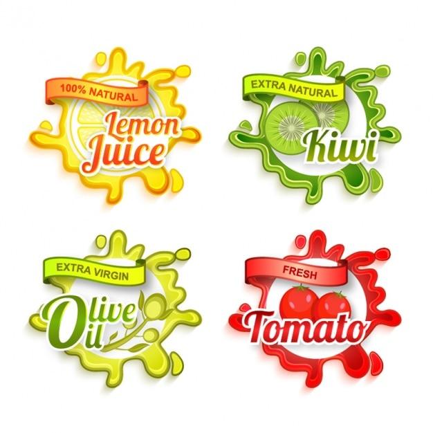 Decoratieve etiketten met verschillende producten en kleuren Premium Vector