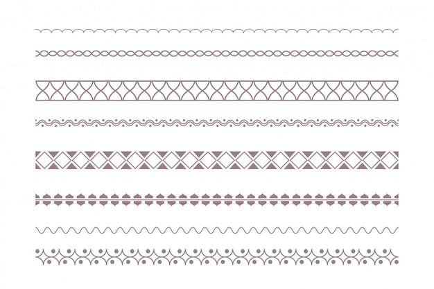 Decoratieve etnische randen in boho-stijl Gratis Vector