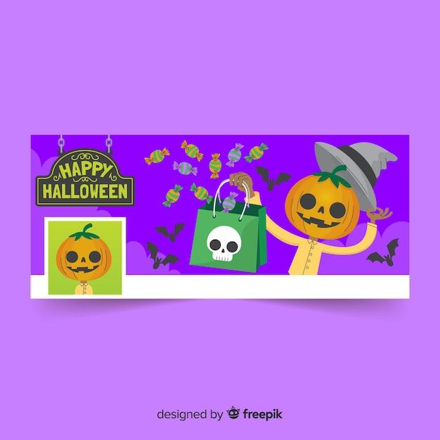 Decoratieve facebookbanner met halloween-concept Gratis Vector