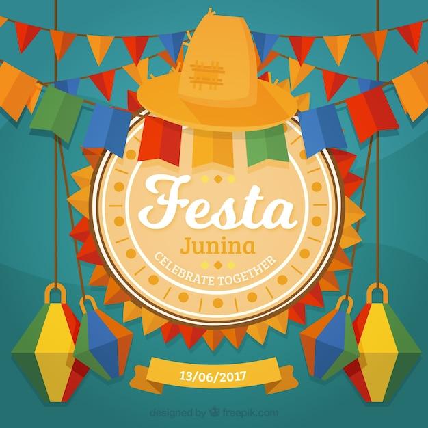 Decoratieve festa junina achtergrond Gratis Vector