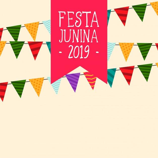Decoratieve festa junina vlaggen achtergrond Gratis Vector