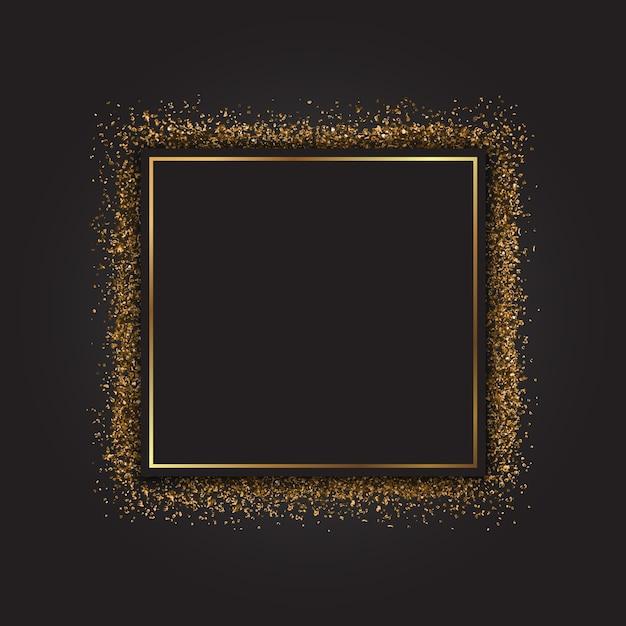 Decoratieve frame met een gouden glittereffect Gratis Vector