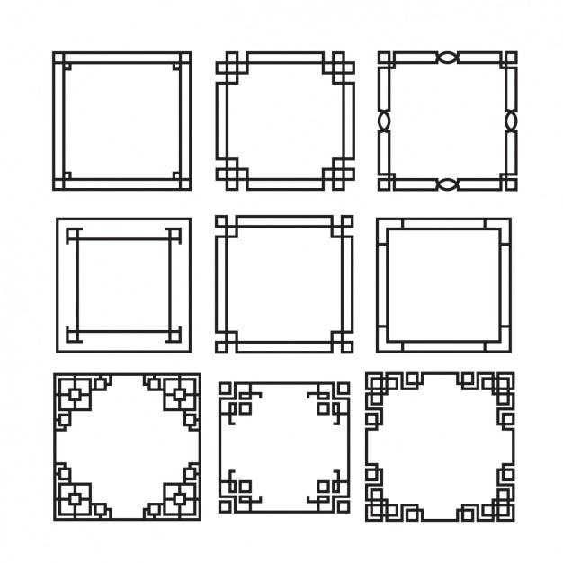 Decoratieve frames inzameling Gratis Vector