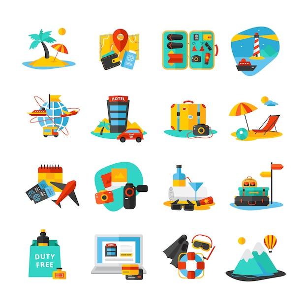 Decoratieve geïsoleerde pictogramserie Gratis Vector