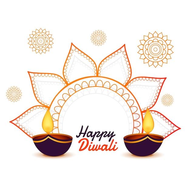 Decoratieve gelukkige diwali festival kaart achtergrond Gratis Vector