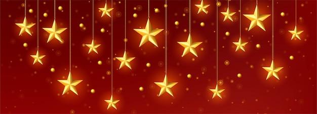 Decoratieve gouden kerstmis sterren sjabloon vector Gratis Vector