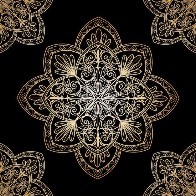 Decoratieve gouden mandala-screensaver Gratis Vector