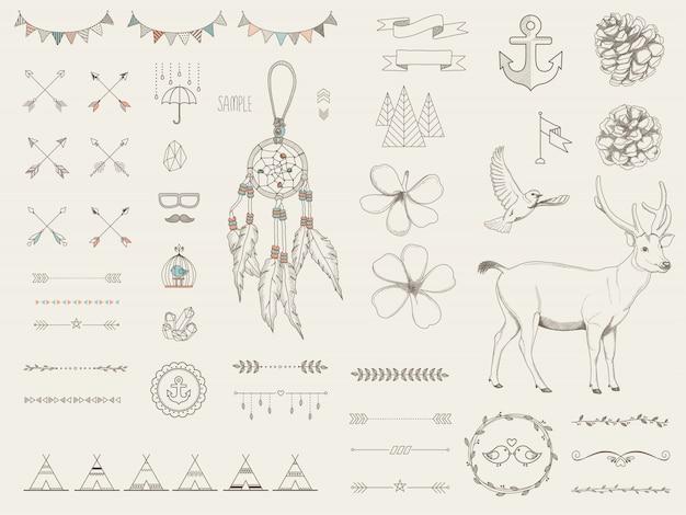 Decoratieve hand getekend etnische ontwerpelementen Premium Vector