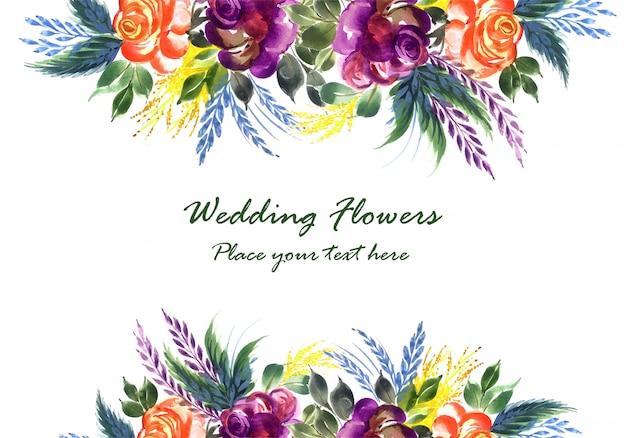 Decoratieve hand tekenen kleurrijke bruiloft bloemen kaartsjabloon Gratis Vector