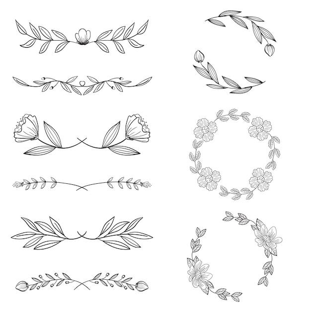 Decoratieve handgetekende soorten frame en verdelers Gratis Vector