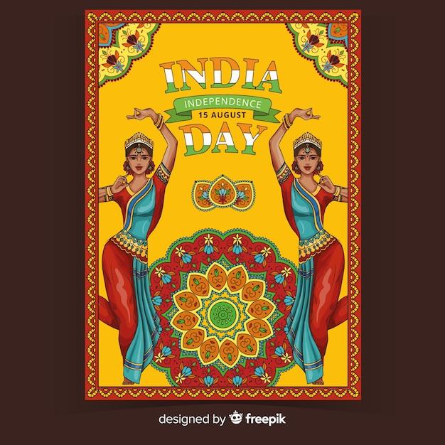 Decoratieve indiase dag van de onafhankelijkheid poster Gratis Vector