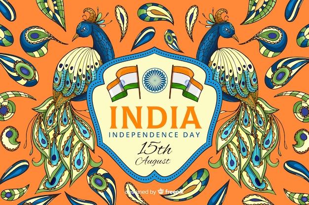 Decoratieve indiase onafhankelijkheidsdag achtergrond Gratis Vector