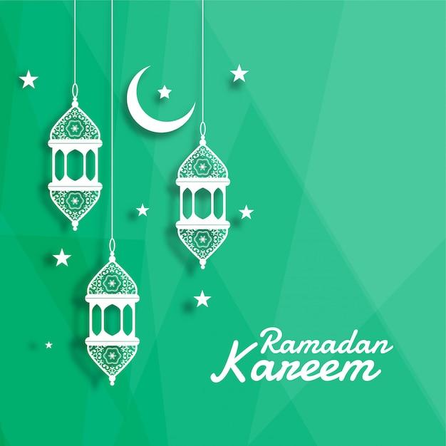 Decoratieve islamitische lantaarn met maan en ster achtergrond Gratis Vector