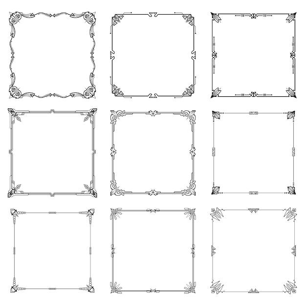 Decoratieve kaders en randen abstracte rechthoek verhoudingen ingesteld. Premium Vector