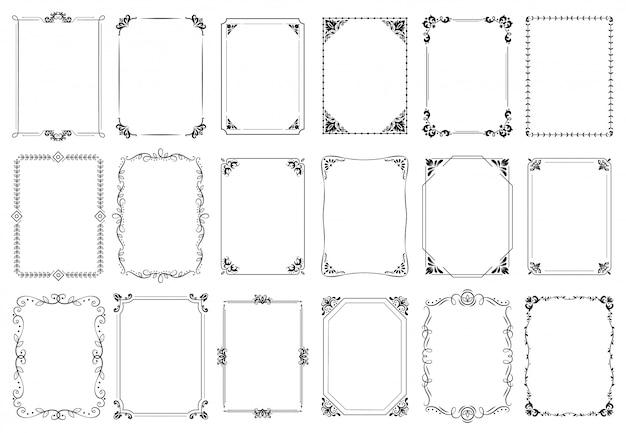 Decoratieve kaders. retro sierlijst, vintage rechthoek ornamenten en sierlijke rand set Premium Vector