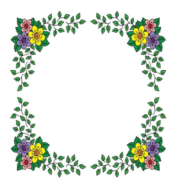 Decoratieve kadersamenstelling met bloemen Premium Vector