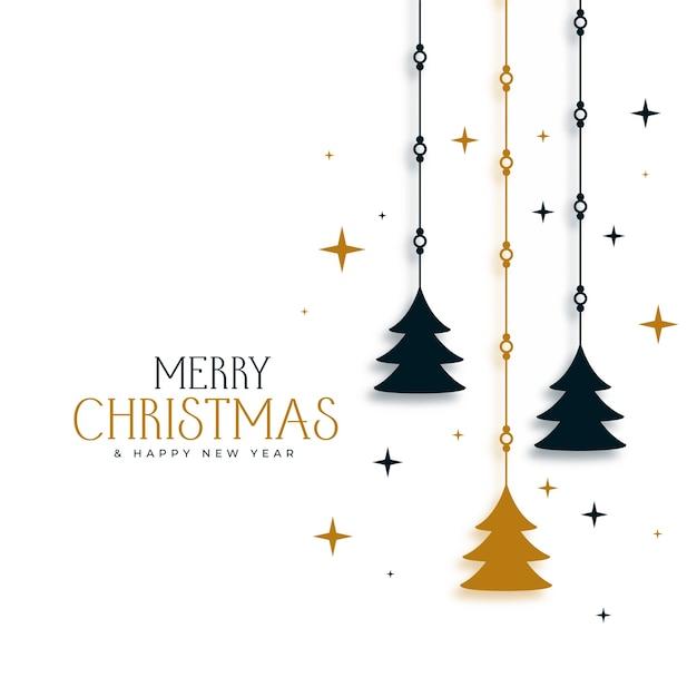 Decoratieve kerst achtergrond met boom en sterren Gratis Vector