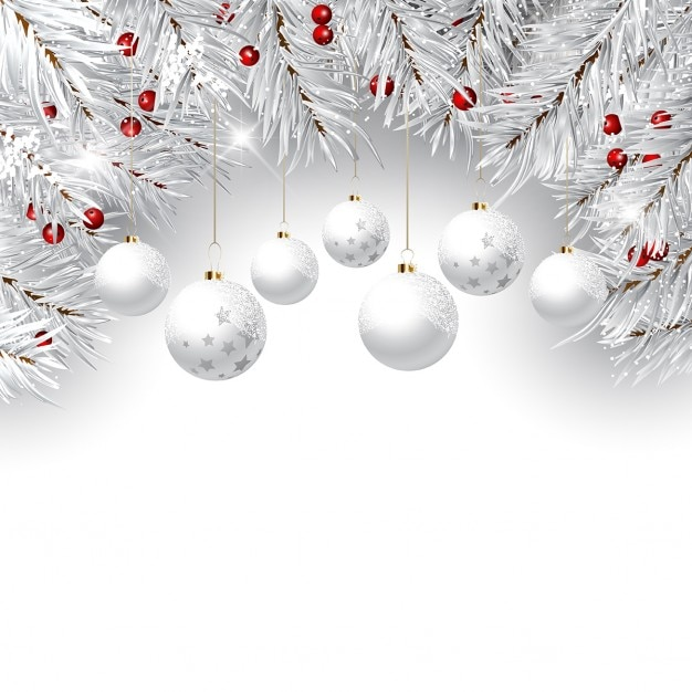 Decoratieve kerst achtergrond met pijn boom takken en opknoping snuisterijen Gratis Vector