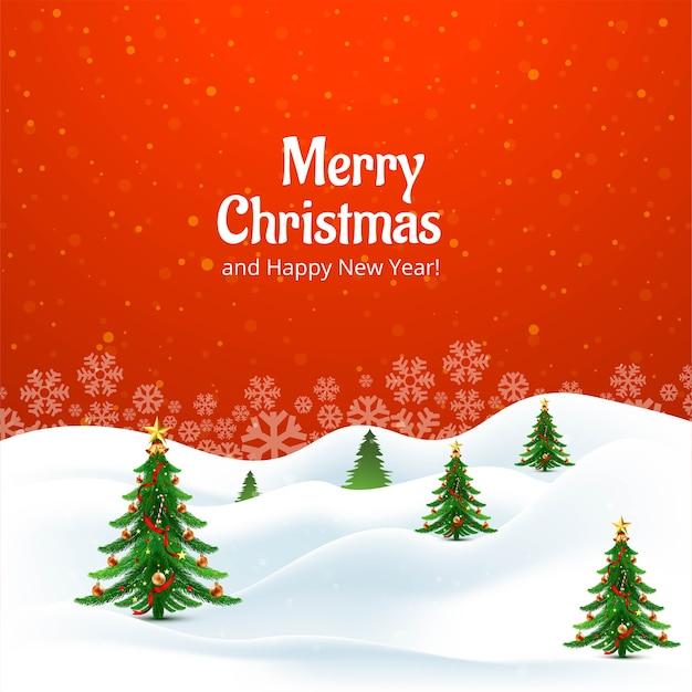Decoratieve kerstboom kerstkaart achtergrond Gratis Vector