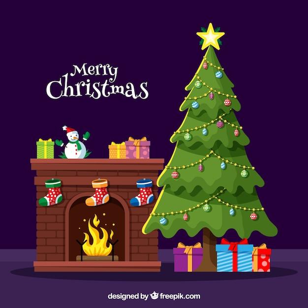 Decoratieve kerstboom Gratis Vector