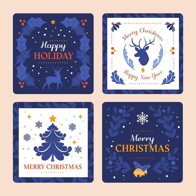 Decoratieve kerstkaarten collectie Premium Vector