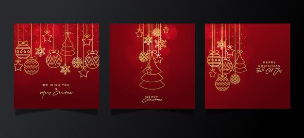 Decoratieve kerstkaarten collectie Gratis Vector