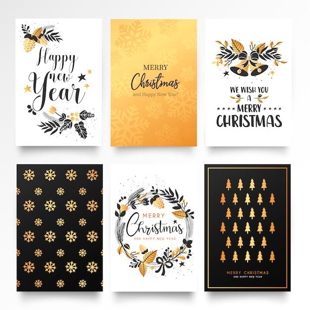 Decoratieve Kerstkaartsjabloon met Gouden Ornamenten Gratis Vector