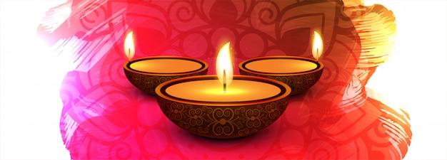 Decoratieve kleurrijke de vieringsbanner van het diwalifestival Gratis Vector