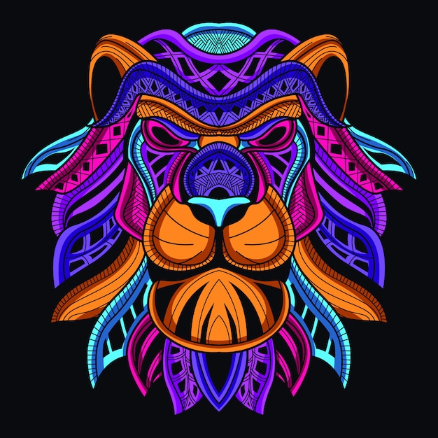 Decoratieve leeuwenkop in gloed neonkleur Premium Vector