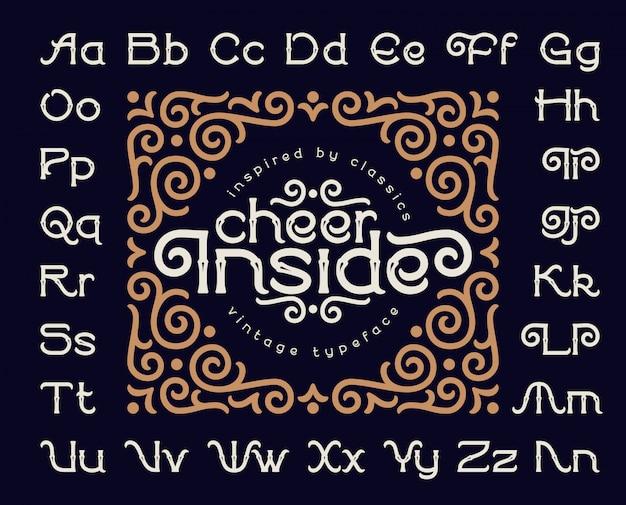 Decoratieve lettertype ingesteld met vintage ornament Premium Vector