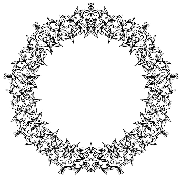 Decoratieve lijn kunst frames. elegant element voor ontwerp in oostelijke stijl. zwarte omtrek florale rand. Premium Vector