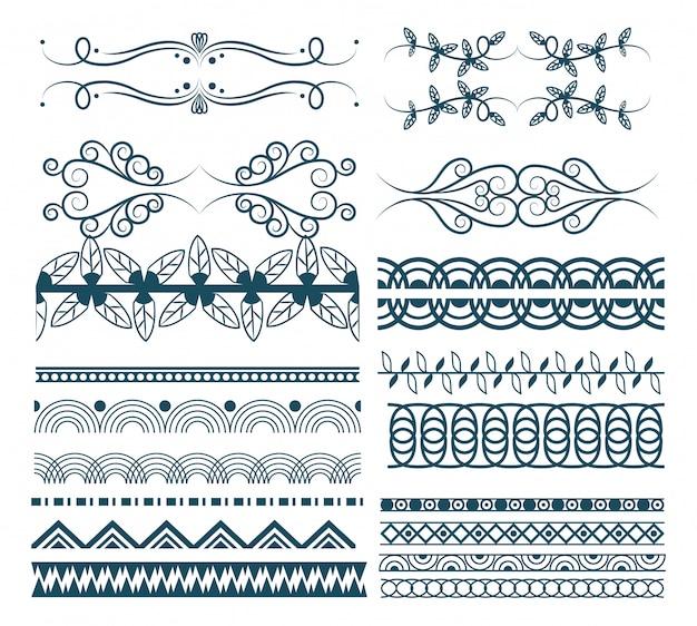 Decoratieve lint emblemen cartoon Gratis Vector