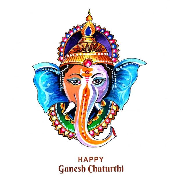 Decoratieve lord ganesha voor ganesh chaturthi-kaart Gratis Vector