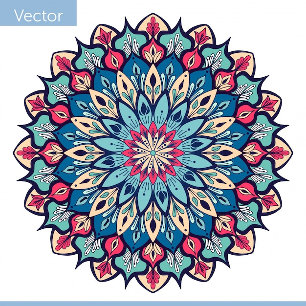 Decoratieve mandala in blauw roze kleuren Premium Vector