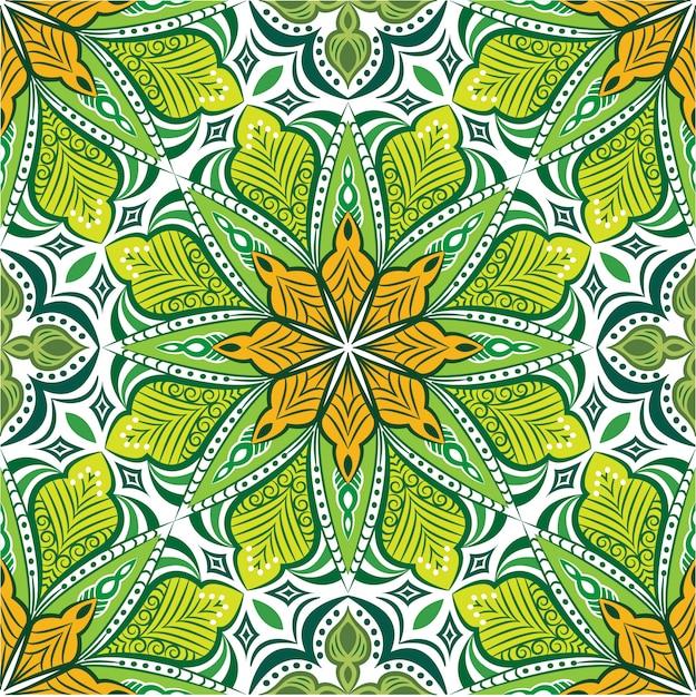 Decoratieve mandala ontwerp abstracte achtergrond, naadloos patroon Premium Vector
