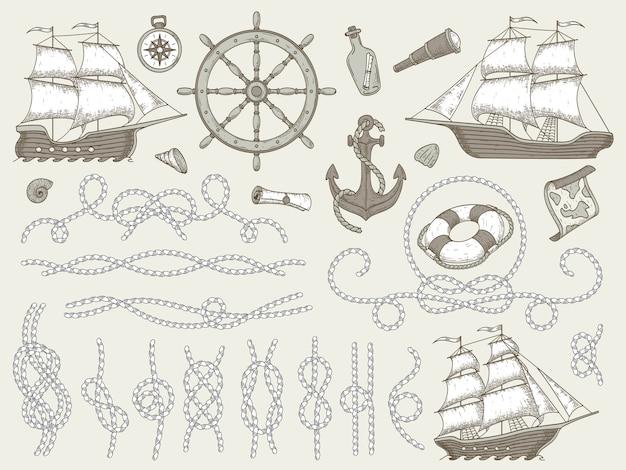Decoratieve mariene elementen. zee touwframes, zeilboot of nautisch schip stuurwiel en nautische touwen hoeken ingesteld Premium Vector