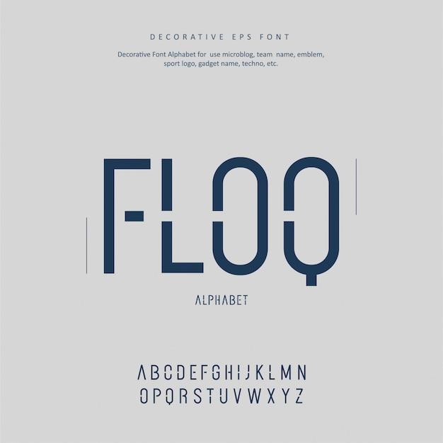 Decoratieve moderne toekomstige creatieve alfabet lettertype Premium Vector