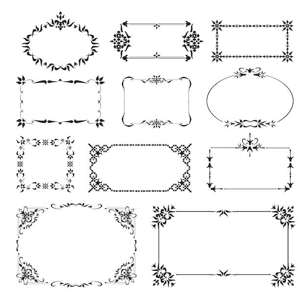 Decoratieve ontwerphoeken ingesteld Gratis Vector