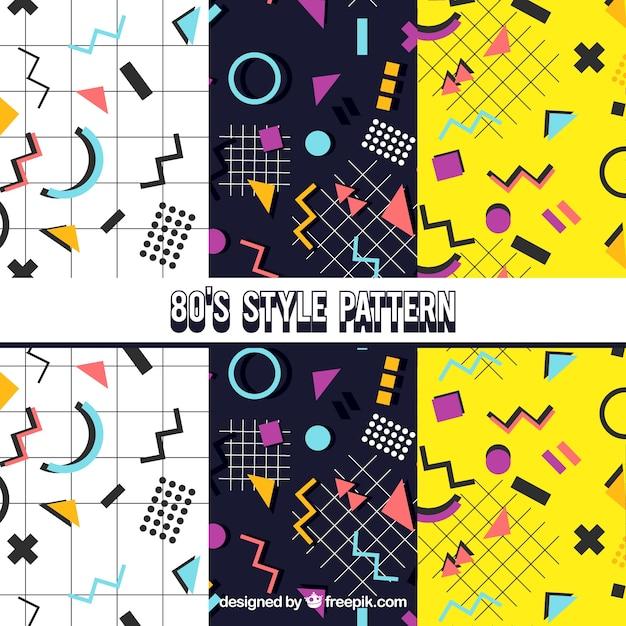 decoratieve patronen met kleurrijke geometrische figuren vector gratis download. Black Bedroom Furniture Sets. Home Design Ideas
